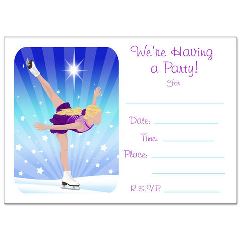 Ice Skating Dreams Fill in the Blank Birthday Party Invitations