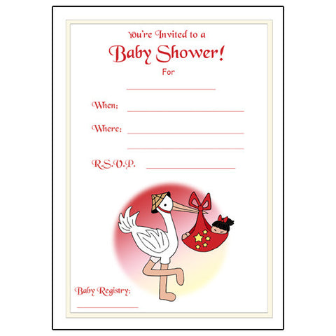 Adoption Stork Fill In Shower Invitations - Girl (33 countries)