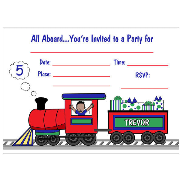 Train Fill in the Blank Party Invitations - Boy
