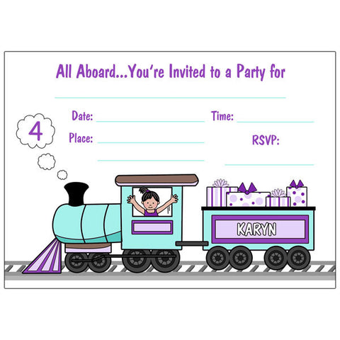 Train Fill in the Blank Party Invitations - Girl