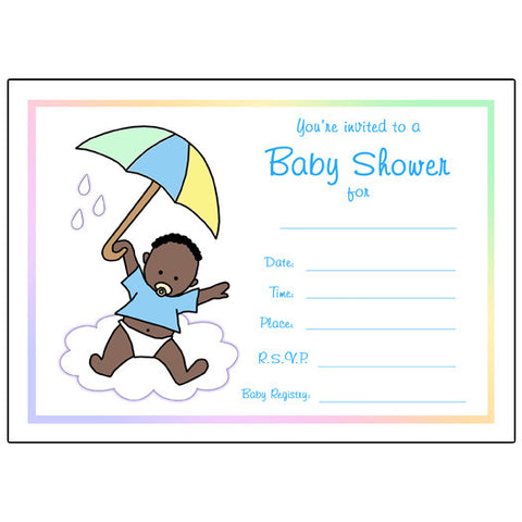 Umbrella Baby Fill In the Blank Shower Invitation - Boy