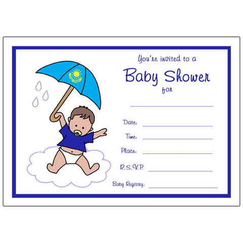 International Umbrella Baby Adoption Shower Fill in Invitation - Boy