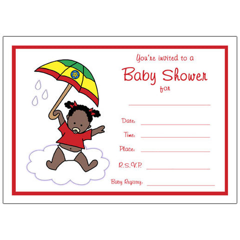 International Umbrella Baby Adoption Shower Fill In Invitation - Girl