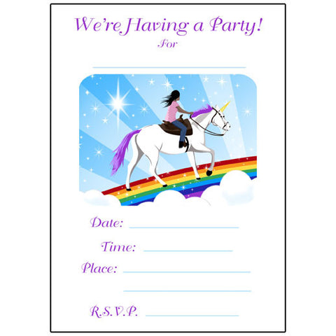 Unicorn Dreams Fill in the blank Birthday Party Invitation
