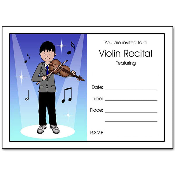 Violin Recital Boy Fill In the Blank Invitations