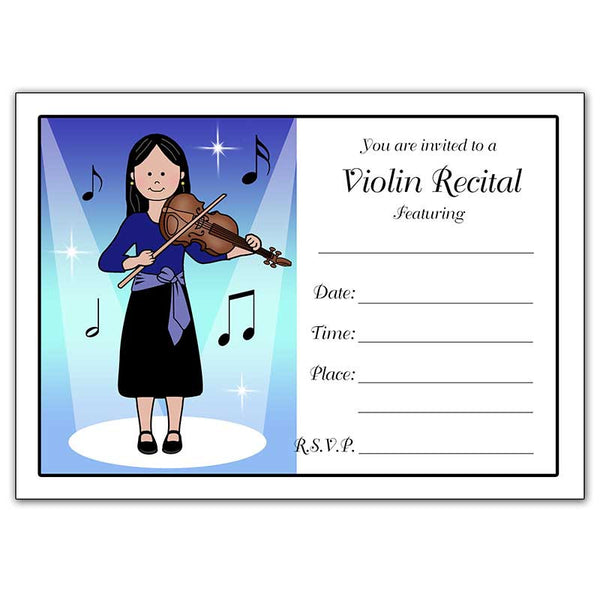 Violin Recital Girl Fill In the Blank Invitations