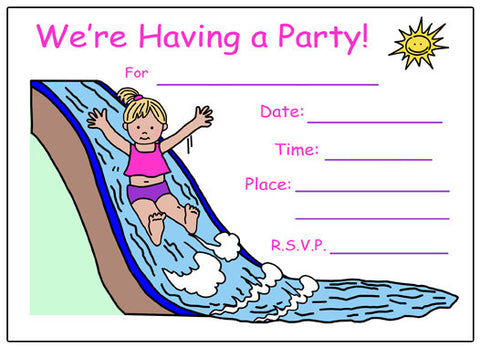Water Slide Fill in the blank Birthday Party Invitation - Girl