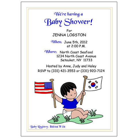 Flag Baby Boy Adoption Shower Invitation