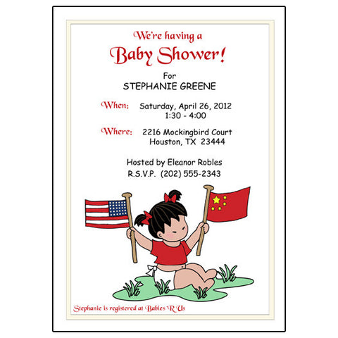 Flag Baby Girl Adoption Shower Invitation