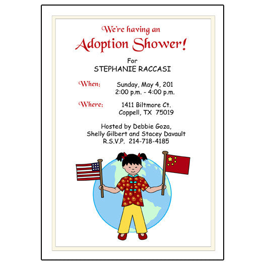 Older Child Adoption Shower or Party Invitation - Kid with Flags