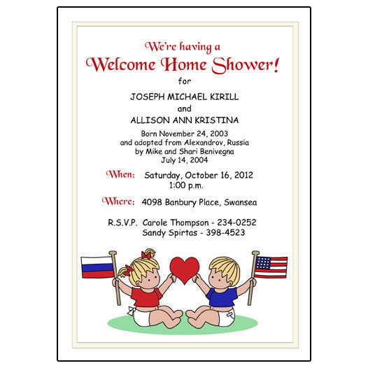 flag baby adoption shower invitation for twins or siblings mandys moon personalized gifts - Adoption Party Invitations