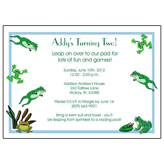 Frog Birthday Party Invitation