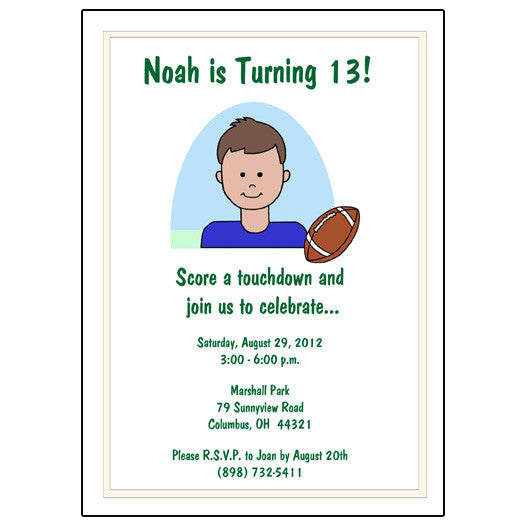 Football Kid Birthday Party Invitation