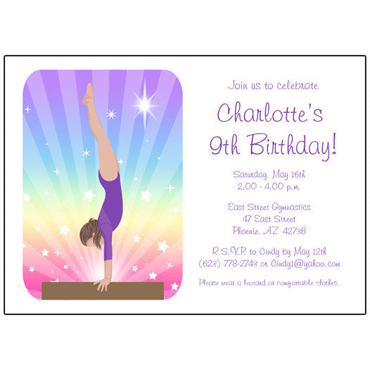 Gymnastics Dreams Birthday Party Invitation - Beam Design