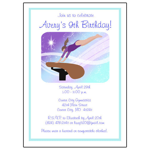 Gymnastics Dreams Birthday Party Invitation - Vault Design