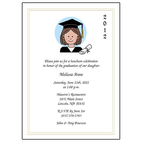 Cartoon Person Graduation Invitation or Announcement
