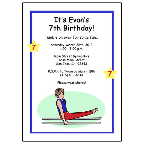 Gymnastics Birthday Party Invitation - Boy