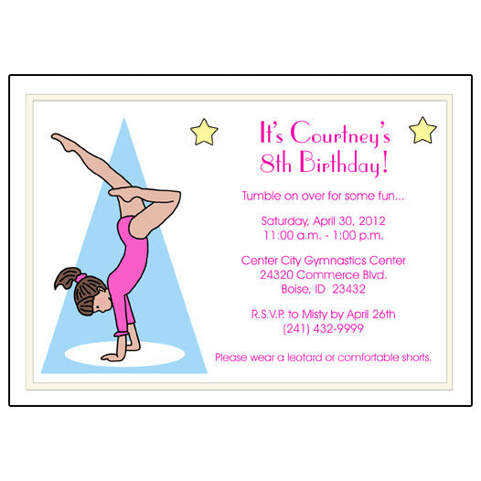 Gymnastics Birthday Party Invitations and personalized Gymnastics Gifts