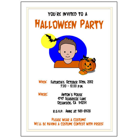 Halloween Party Invitation - Boy