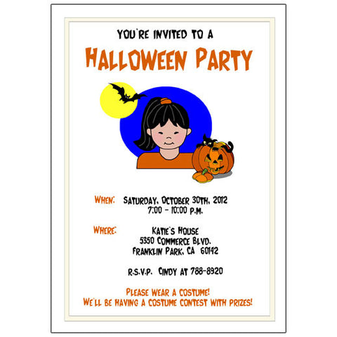 Halloween Party Invitation - Girl