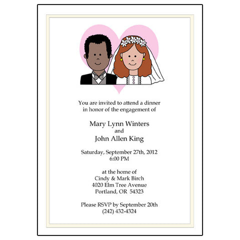 Happy Couple Wedding or Bridal Shower Invitation