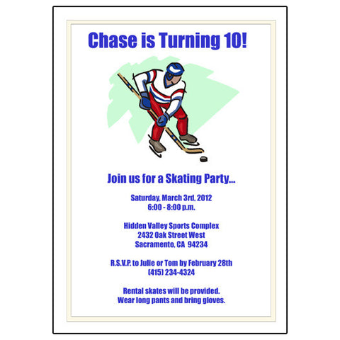Hockey Player Birthday Party Invitation