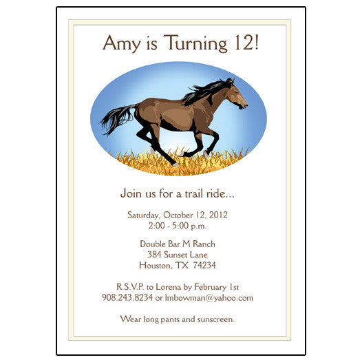 Wild Horse Birthday Party Invitation Mandys Moon Personalized Gifts