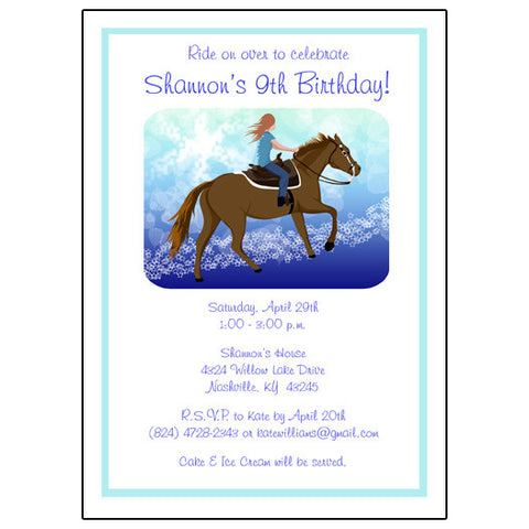 Horse Dreams Birthday Party Invitation
