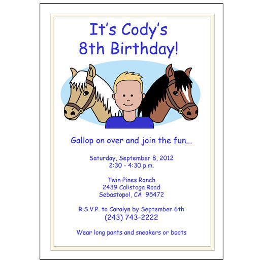 Horse Kid Birthday Party Invitation
