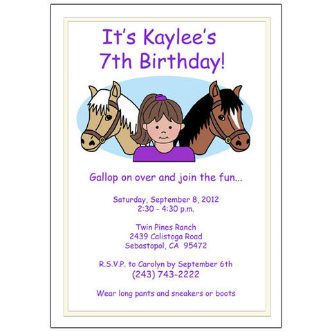 Horse Kid Birthday Party Invitation - Girl