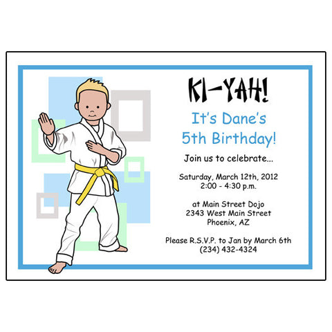 Martial Arts or Karate Kid Birthday Party Invitation - Boy