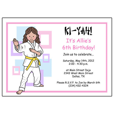 Martial Arts or Karate Kid Birthday Party Invitation - Girl