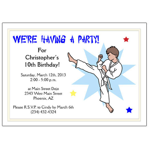 Karate or Martial Arts Boy Birthday Party Invitation - Kick Design