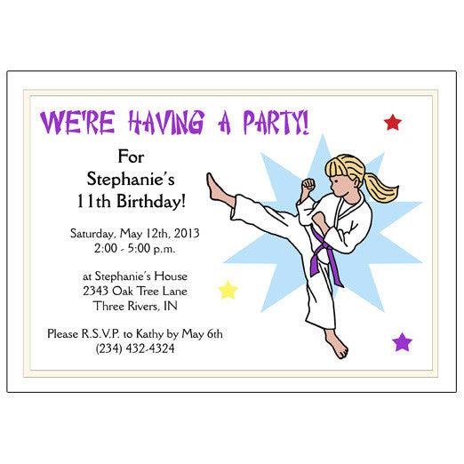 Karate or Martial Arts Girl Birthday Party Invitation - Kick Design