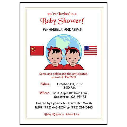 My Two Countries Adoption Shower Invitation for Twins or Siblings