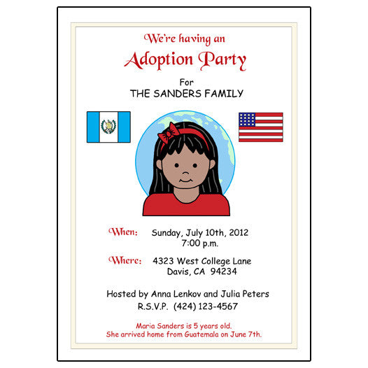My Two Countries Adoption Party Invitation