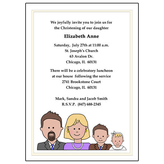 baby baptism or christening invitation cartoon family