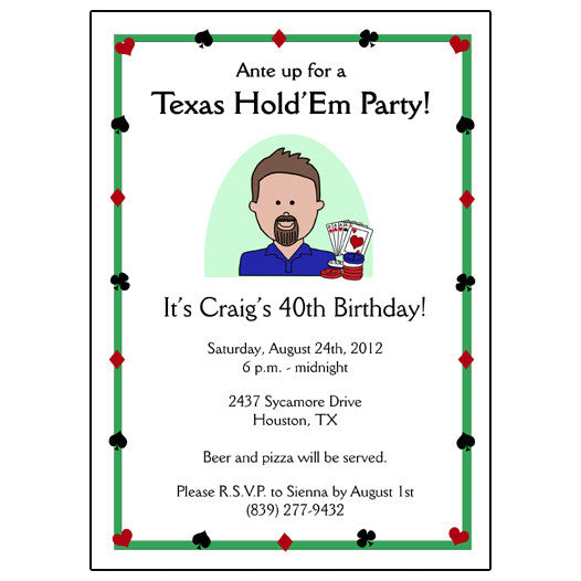 Poker Party or Texas Hold Em Invitation - Cartoon Person