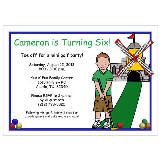 Mini Golf Birthday Party Invitation (Design 2)  - Boy