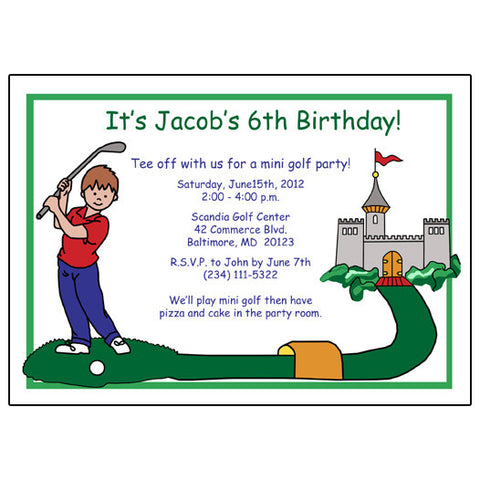 Mini Golf  Birthday Party Invitation - Boy