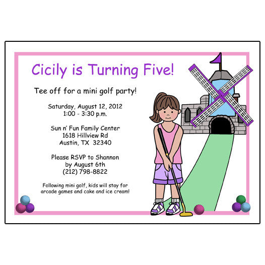 Mini Golf Birthday Party Invitation Design 2 Girl Mandys Moon