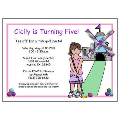 Mini Golf Birthday Party Invitation (Design 2) - Girl
