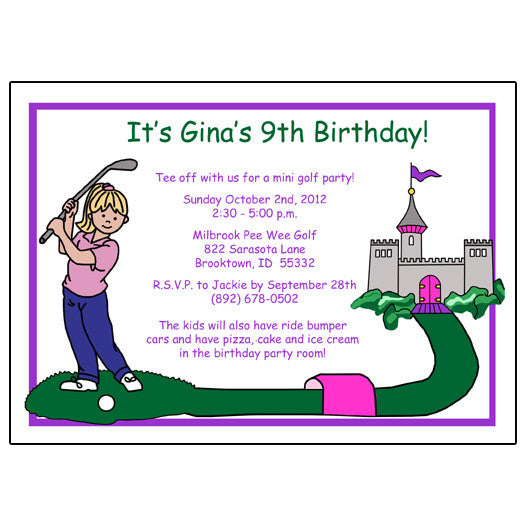 Mini Golf  Birthday Party Invitation - Girl