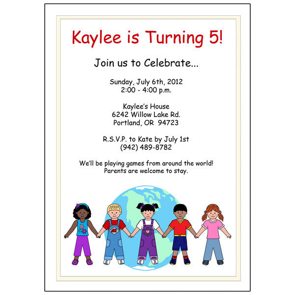 multicultural kids party invitation mandys moon personalized gifts
