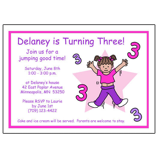 Number Birthday Party Invitation - Girl