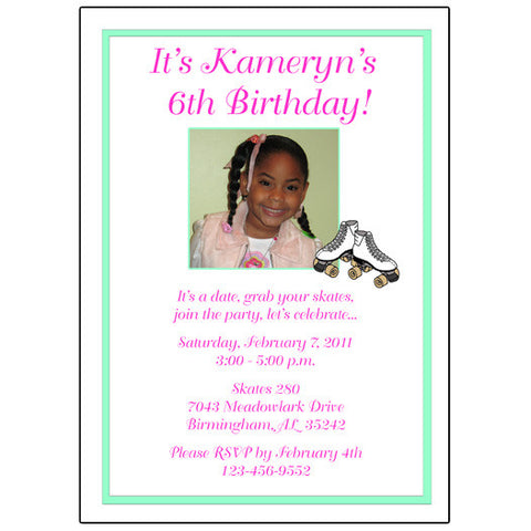 Photo Roller Skating Birthday Party Invitation