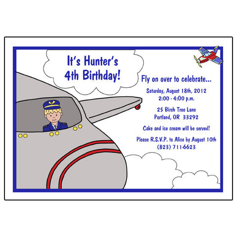 Airplane Pilot Birthday Party Invitation