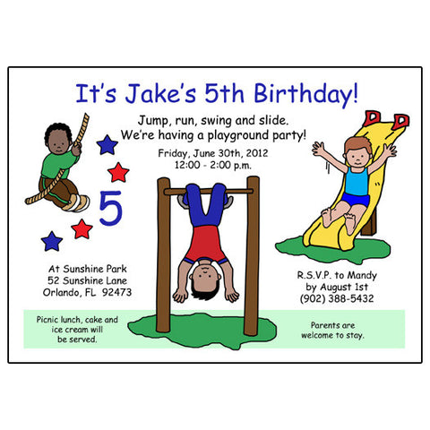 Playground Park Birthday Party Invitations