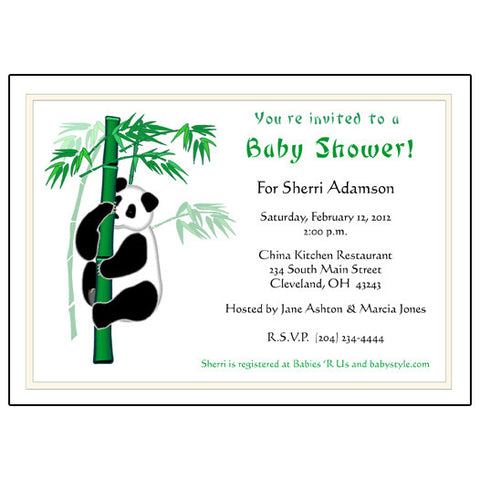 Panda Bamboo Adoption Shower Invitation