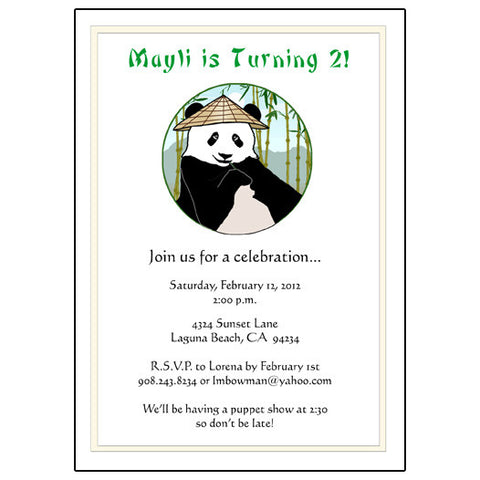 Panda With Cone Hat Party Invitation